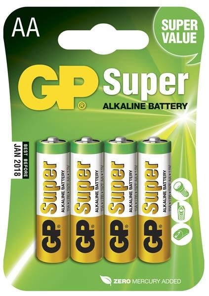 GP Batterier Super Alkaline AA, LR6, 1.5V, 4-pack-0